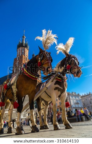Horse carriages at main square in Krakow in a summer day, Poland - stock photo