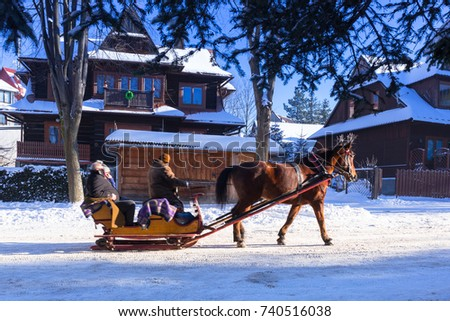 Horse cart ride in snowy Zakopane, Poland