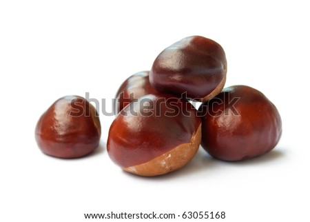 horse chestnuts isolated on white - stock photo