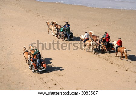 Horse drawn buggies on the beach
