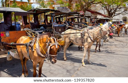 horse drawn carriage in the old spanish town in vigan, south ilocos, philippines - stock photo