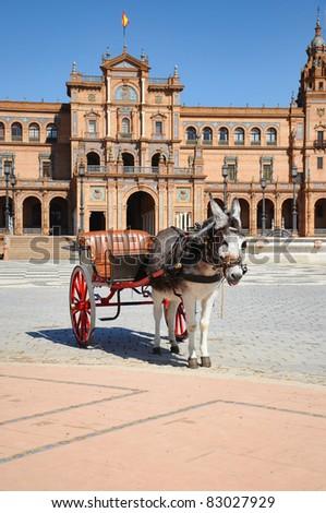 Horse drawn carriage tour donkey at Plaza Spain, Seville, Spain - stock photo