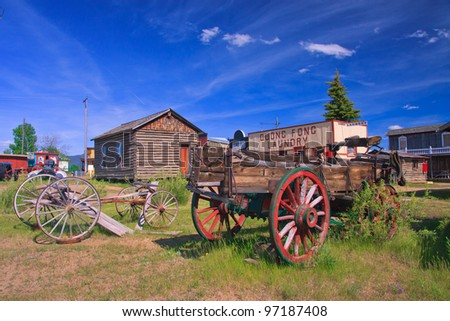 Horse drawn wagons at the World Museum Of Mining, Butte, Montana - stock photo