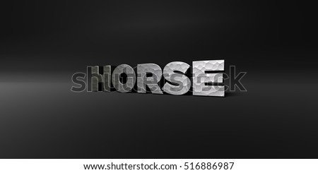 HORSE - hammered metal finish text on black studio - 3D rendered royalty free stock photo. This image can be used for an online website banner ad or a print postcard.