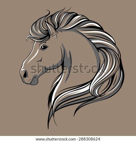 Horse head sketch - stock photo