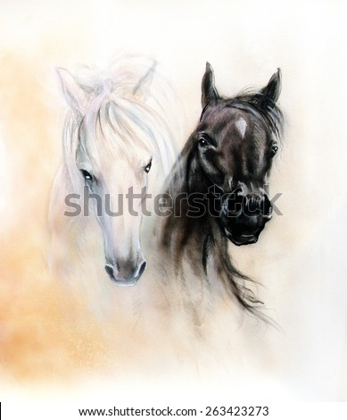 Beautiful white horse paintings - photo#13