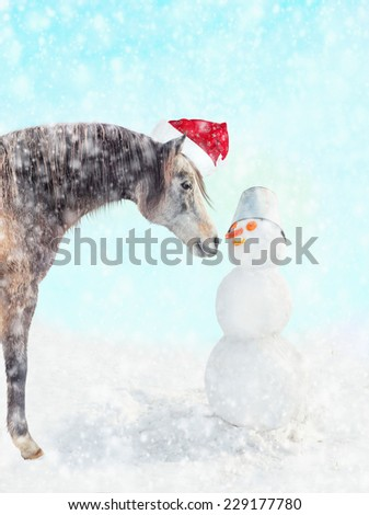 Horse in Santa hat and snowman with a bucket on his head and  carrot nose in winter snow, Christmas card - stock photo