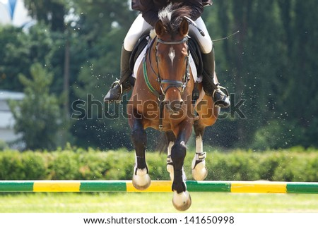 Horse jump a hurdle in competition - stock photo