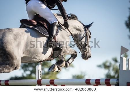 Horse Jumping, Equestrian Events - stock photo