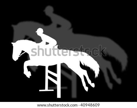Horse jumping with shadow on the background - stock photo
