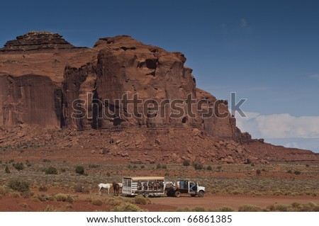 Horse leasing truck waits in monument valley for clients - stock photo