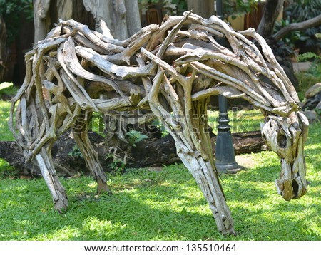 Horse made of scrap wood - stock photo