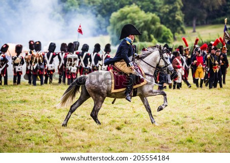 Horse mounted officer at the reenactment of the Battle of Wavre 1815. This blocking action kept the French soldiers from reaching Waterloo. This battle helped the Allied forces defeat the French army. - stock photo