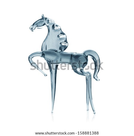 Horse out of the glass,  isolated on white background - stock photo