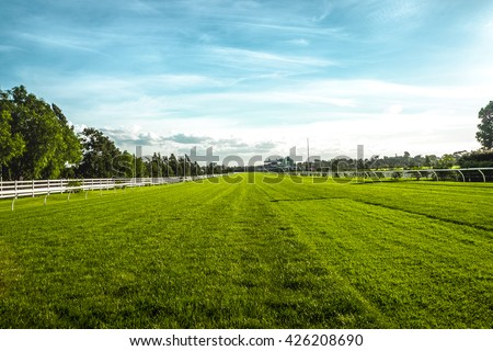 Horse racecourse field in Melbourne - stock photo