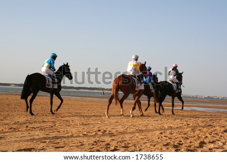 Horse races in the beach in Spain