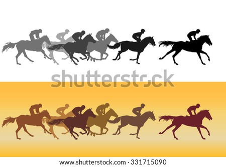 Horse Racing. Competition. Horse racing at the racetrack. Silhouettes of riders on a colored background. Color image. Black on white.