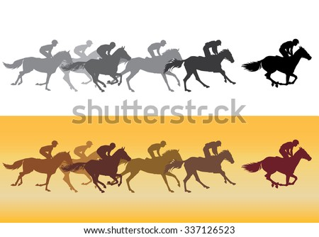 Horse Racing. Jockeys on horses galloping on the racetrack. Black on white. Silhouettes of riders on a colored background. color image.