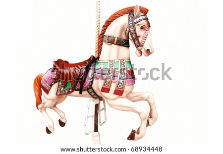 Horse ride isolated on white - stock photo