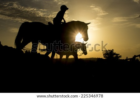 Horse riding silhouette - stock photo
