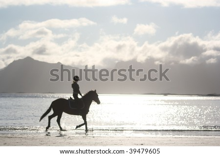 horse riding silhouette on the beach,lofoten island, norway - stock photo