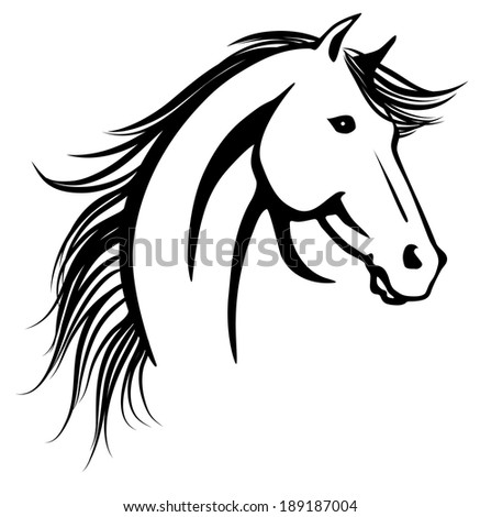 Horse's head. Raster copy of vector image.