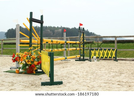Horse showjumping place, showjumping obstacle - stock photo
