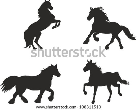 horse silhouettes - stock photo