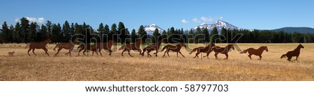 Horse silhouettes, sculpture, Sisters, Oregon - stock photo
