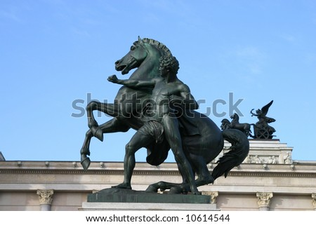 Horse statue in front of Parliament in Vienna - stock photo
