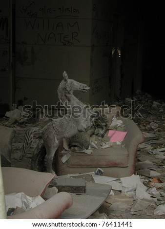 Horse Statue in lobby of hotel across the street from Ground Zero WTC 9-18-2001 - stock photo