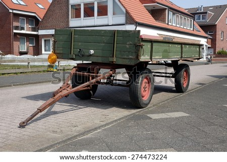 Horse trailer on Juist, car free island in Germany - stock photo