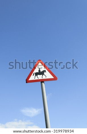 Horse warning sign, England UK.