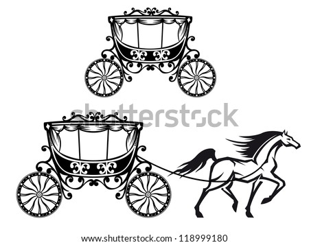 Horse with old carriage in retro style - stock photo