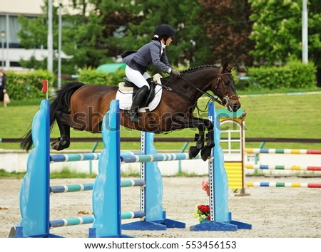 Horse with rider jumping over hurdle