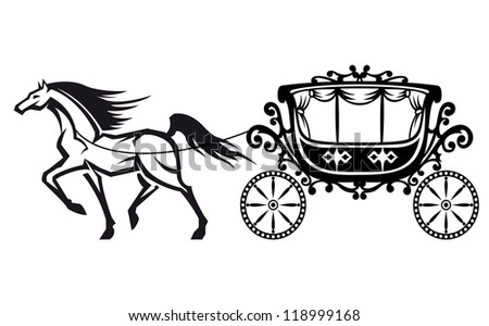 Horse with vintage carriage for retro design. Vector version also available in gallery - stock photo