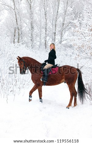Horseback riding in snowing woods - stock photo