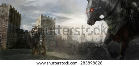 horseman and army outside the castle  - stock photo