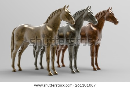 Horses in metal. Gold, silver and bronze in 3D