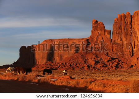 Horses of Monument Valley - stock photo