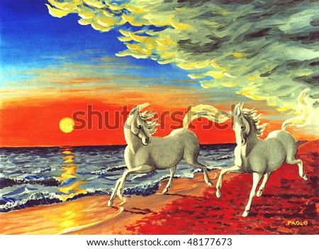 Horses running on the Beach - stock photo