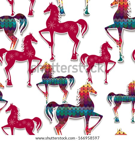 Horses seamless pattern. Great choice for wrapping paper pattern.  Illustration for you design.