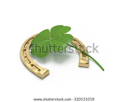 horseshoe and clover on a white background - stock photo