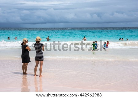 HORSESHOE BAY, BERMUDA - MAY 26 - People enjoy the turquoise colored water of Horseshoe Bay Beach on May 26 2016 in Southampton Parish Bermuda. - stock photo