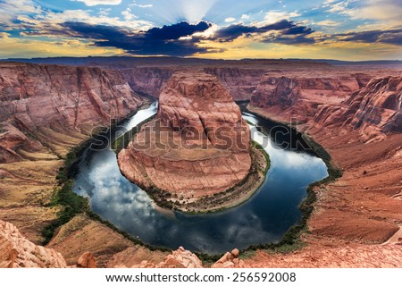 Horseshoe Bend, Colorado River. Grand Canyon, Page, Arizona. Sunset - stock photo