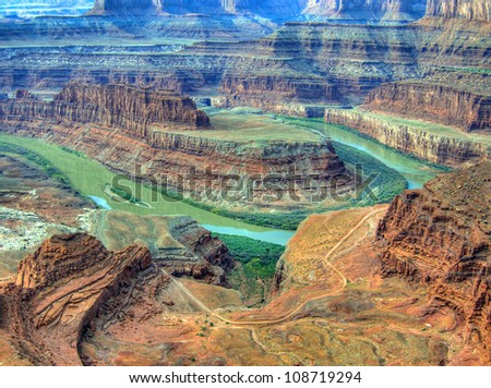 Horseshoe Bend from Dead Horse Point State Park, Utah - stock photo