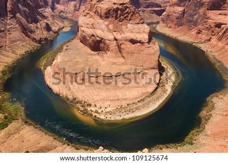 Horseshoe bend of Colorado river in Page Arizona - USA - stock photo