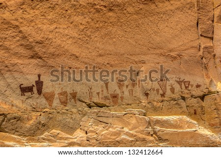 Horseshoe Canyon Pictographs, Canyonlands National Park, Utah - stock photo
