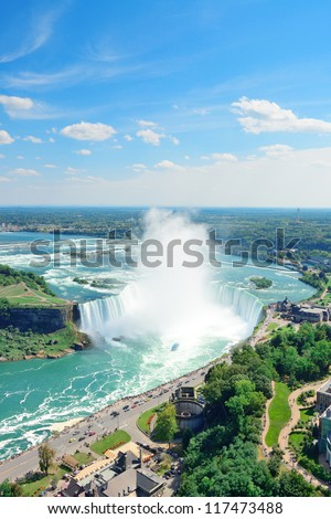 Horseshoe Falls aerial view in the day with mist from Niagara Falls - stock photo