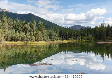 Horseshoe lake with a reflection